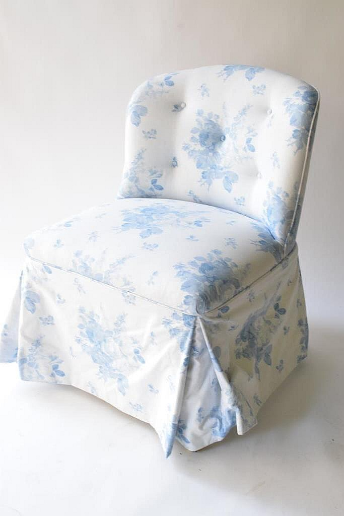 Blue Floral Upholstered Bedroom Slipper Chair