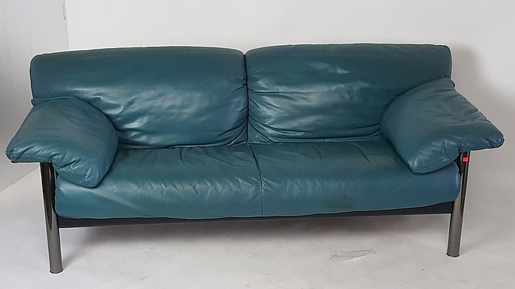 Teal leather sofa for Teal leather couch