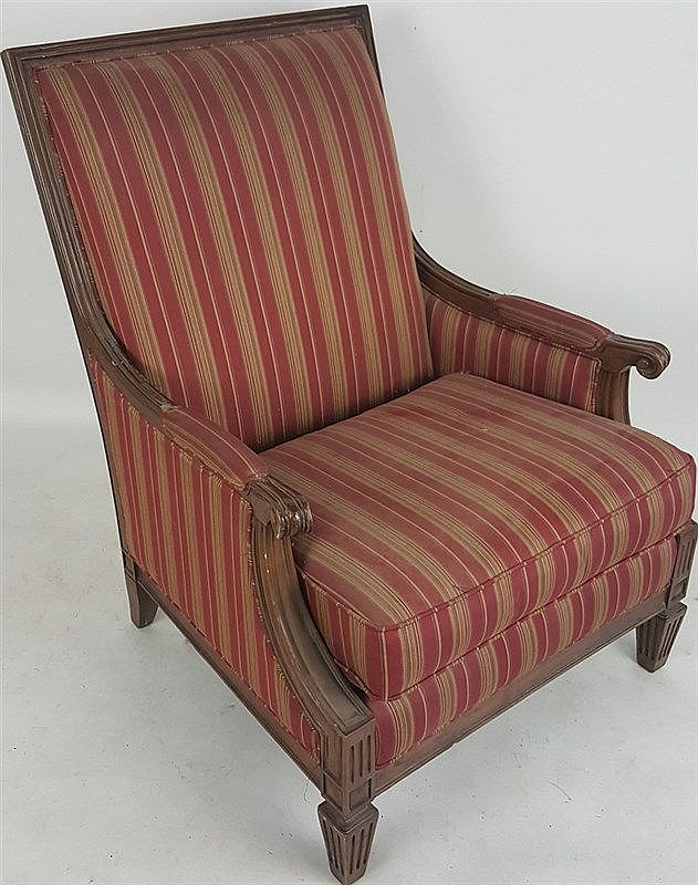 red striped armchair