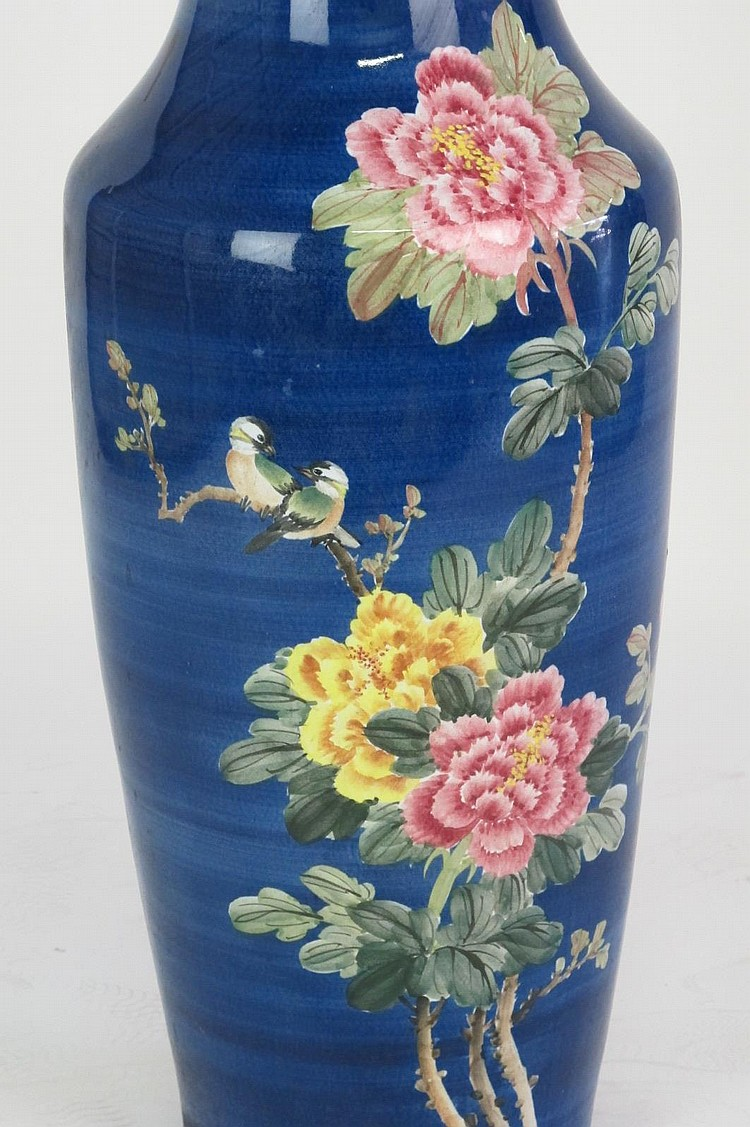 Sold Price Oversized Cobalt Blue Vase With Floral Motif Large Cobalt Blue Ceramic Vase With Hand Painted Floral And Bird Design In Pink And Yellow White Interior With Sticker Reading Rep Of