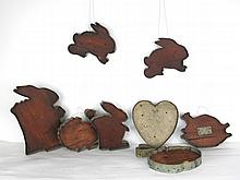 Nine Large Wood and Tin Cookie Cutters