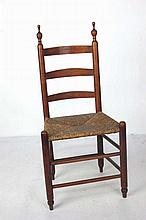 19th C. American Country Ladder Back Side Chair
