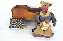 Pine Doll Crib & Vintage Black Americana Doll
