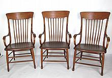 Three Country Spindle Back Arm Chairs