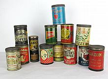 Collection of 13 Coffee Tins
