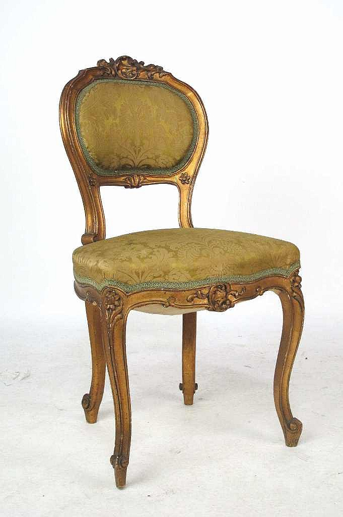 Peachtree Wood Furniture ~ Lot of four th c french gilt wood chairs