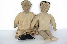 Pair Antique Cloth Dolls