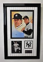 Leon Wolf Painting Mickey Mantle with Signed Photo
