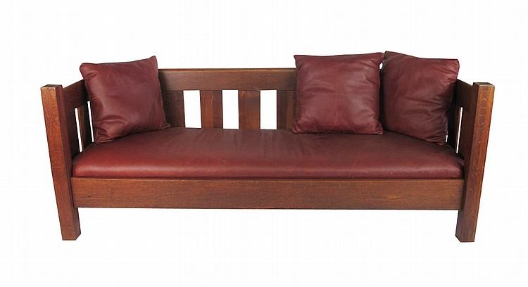 arts crafts mission oak sofa. Black Bedroom Furniture Sets. Home Design Ideas