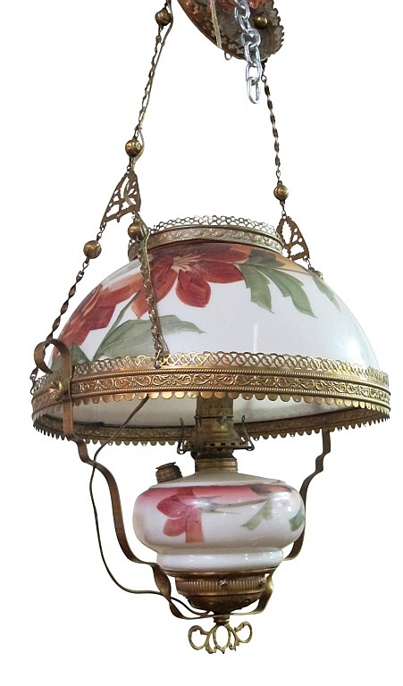 Converted Oil Lamp Hanging Fixture