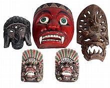 Group Lot Five Carved Asian Masks