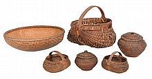 Group Lot Six Woven Baskets