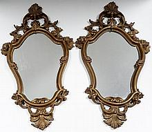 Pr Gilded Cartouche Form Wall Mirrors
