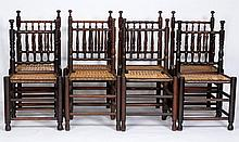 Set Of Eight 17th C Style Antique Chairs