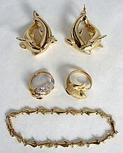 Estate Lot Of Dolphin Motif 14K Gold Jewelry