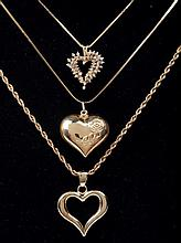 Three 14k Yellow Gold Heart Necklaces