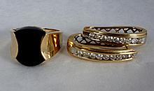 Ladies Onyx Ring & Diamond Hoop Earrings