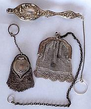 Two Silver Coin Purses and a Lorgnette