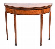 Hepplewhite Satinwood Demilune Table C 1790