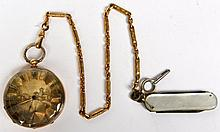 18k Yellow Gold Metal Pocket Watch