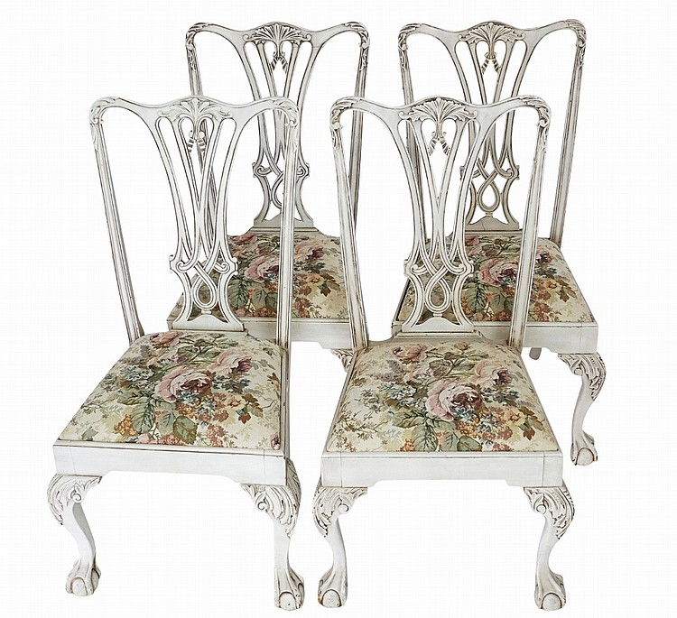 Surprising Set Of 4 White Painted Chippendale Chairs Theyellowbook Wood Chair Design Ideas Theyellowbookinfo