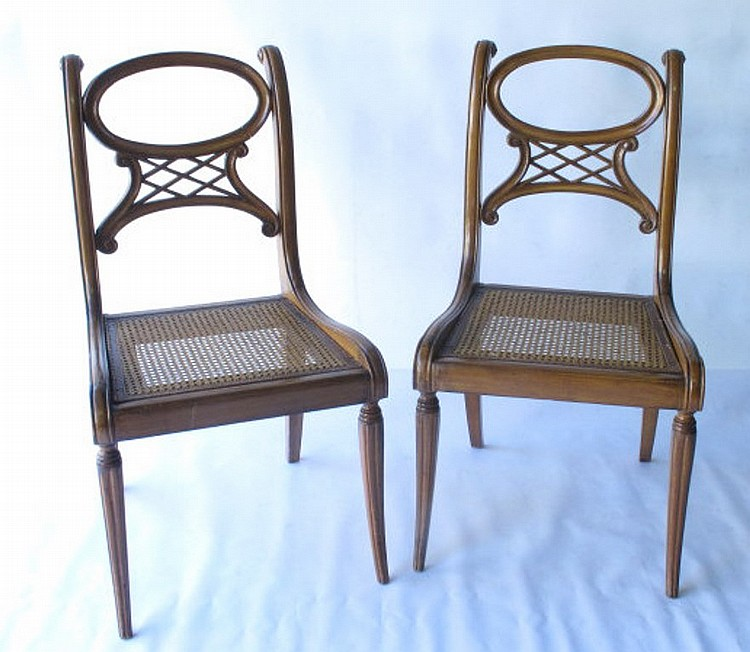 Pair of wicker seat chairs for Furniture 4 a lot less