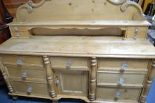 Early 20th Century pine dresser c1910 with glass knobs 5 1/2 ft L