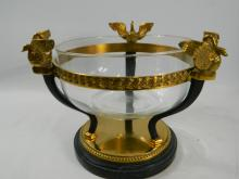 Large super quality solid brass swan bowl with marble base and glass insert