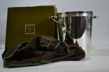 A beautiful example of a  Christofle Orfever a Paris (fabulous quality) champagne bucket with its original box