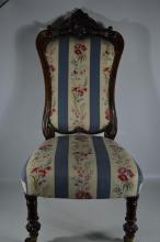 Victorian occasional carved oak chair, recently upholstered