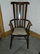 19th Century High spindle back mahogany chair with padded seat circa 19th century