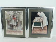 2 Framed prints of 1930s posters for Edinburgh Sick children's hospital appeal. Original by Tom Curr printed by Mclagan and Cumming Edinburgh 40 x 31 cm