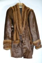 Manock, mink trimmed coat, fits size 14. Approx