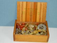 Wooden box of jewellery
