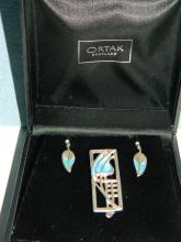Set of  enameled Ortak Jewelery, to include pendant, earrings and a brooch