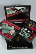 Black jewellery box and contents plus boxed bracelet