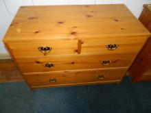 Solid pine 2 door 3 drawer chest of drawer [L:90 D:45 W:65]cm