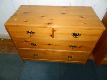 Solid pine 2 door 3 drawer chest of drawers