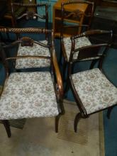 Set of 4 early 19th century scroll back chairs to include 1 carver