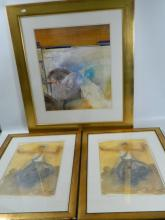 Two large gilt framed portraits of women and 1 gilt framed abstract