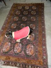 Handmade light purple, amber/cream/brown rug [7 by 4 ft approx] does not include dog!!
