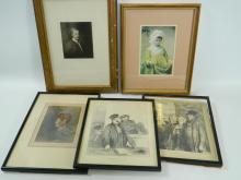 Mixed lot of 5 portraits by various artists