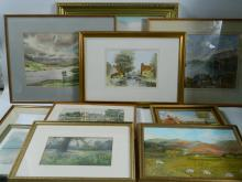 Box of 10 original watercolours and oil paintings