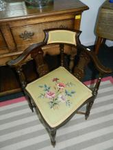 Edwardian corner chair with tapestry seat
