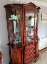 Large Italian mahogany style glass door display cabinet with curved glass on 4 drawers