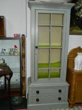 Victorian painted dresser with glazed door with 2 drawers with original knob handles (2 1/2 ft W x 6 1/2 ft H approx)