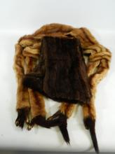 Vintage dark mink shoulder wrap and vintage stoat fur stole