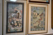 2 Framed hand painted Persian scenes on silk