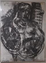 GRAHAM DURWARD Scottish (b1956) 'New York Warrior' original charcoal on paper 1982