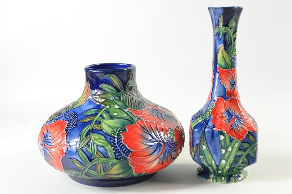 Old Tupton Ware Squat Vase In Hibiscus Design On A Blue Grou